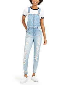 Juniors' Button-Front Distressed Overalls