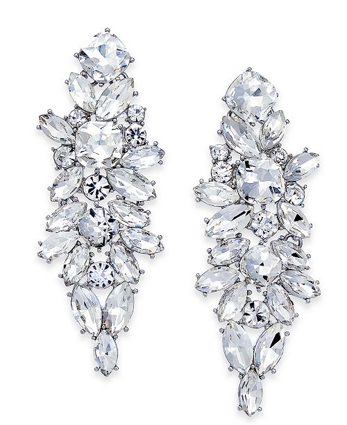 INC International Concepts INC Silver-Tone Crystal Cluster Chandelier Earrings, Created For Macy's