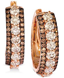 Le Vian® Diamond Hoop Earrings (4-1/4 ct. t.w.) in 14k Rose Gold