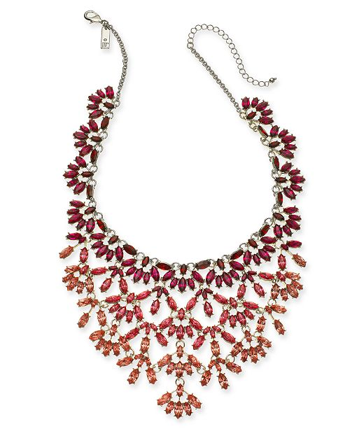 "INC International Concepts INC Silver-Tone Marquise-Crystal Statement Necklace, 16"" + 3"" extender, Created For Macy's"