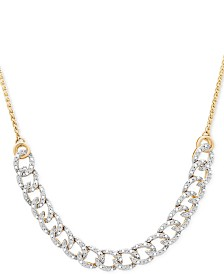 Wrapped in Love™ Diamond Curb-Link Bolo Necklace (1/4 ct. t.w.) in 10k Gold, Created For Macy's