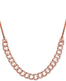 Diamond Curb-Link Bolo Necklace (1 ct. t.w.) in 10k Rose Gold, Created For Macy's