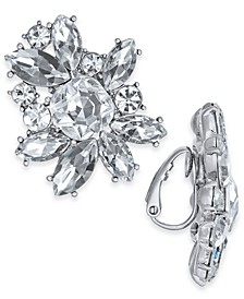 INC Silver-Tone Crystal Cluster Clip-On Stud Earrings, Created For Macy's