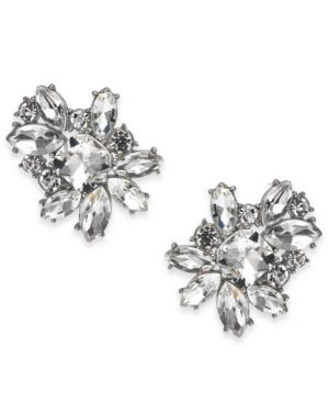 Silver-Tone Crystal Cluster Stud Earrings