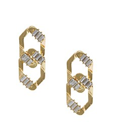 Gold Tone Interlocking Post Earrings