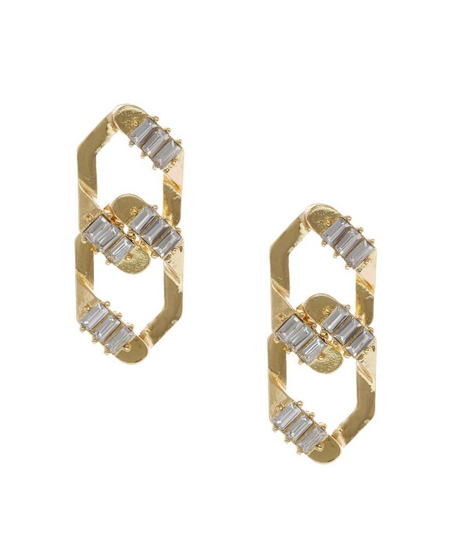 Christian Siriano New York Christian Siriano Gold Tone Interlocking Post Earrings
