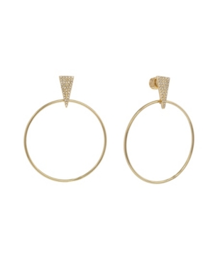 Christian Siriano Gold Tone Front Hoop Earrings