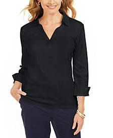 Petite Split-Neck Point-Collar Top, Created For Macy's