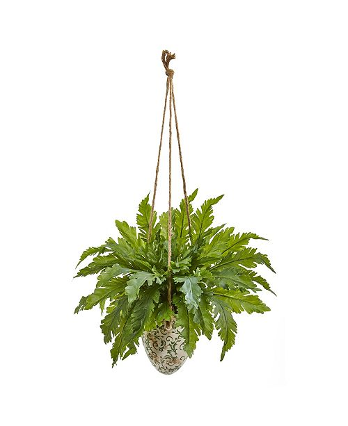 "Nearly Natural 29"" Fern Artificial Plant in Hanging Vase"