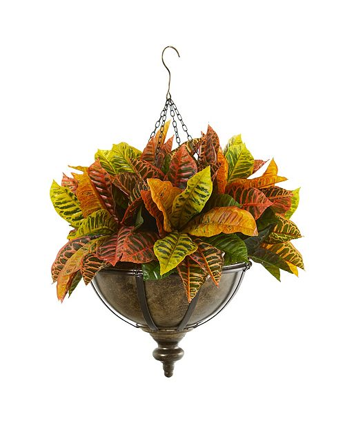 """Nearly Natural 26"""" Garden Croton Artificial Plant in Hanging Metal Bowl Real Touch"""