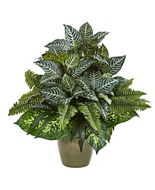 "26"" Mix Greens Artificial Plant in Green Planter"