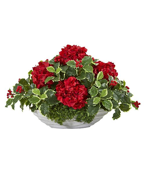 Nearly Natural Hydrangea and Holly Leaf Artificial Arrangement in Decorative Vase