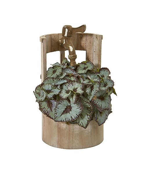 "Nearly Natural 12"" Rex Begonia Artificial Plant in Faucet Planter"