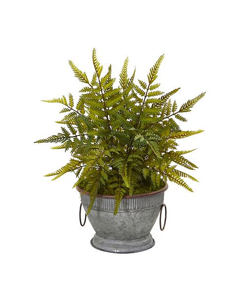 """Nearly Natural 15"""" Fern Artificial Plant in Vintage Metal Bowl with Copper Trimming"""