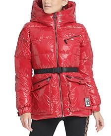 Sport Belted Hooded Puffer Jacket