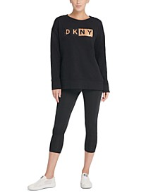 Sport Sequin-Logo Long-Line Sweatshirt