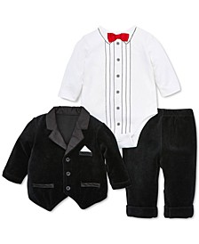 Baby Boys 3-Pc. Tuxedo Jacket, Bodysuit & Pants Set