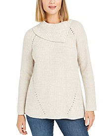 Petite Pointelle Envelope-Neck Sweater, Created For Macy's