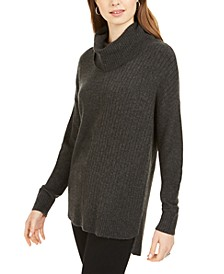 Mixed-Stitch Ribbed Turtleneck Tunic Sweater, Created for Macy's