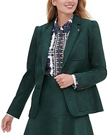 Faux-Suede Notched-Lapel Blazer