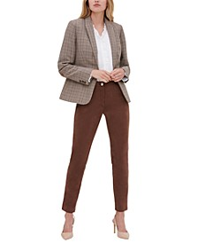 Plaid Blazer, Ruffled Poet Blouse & Faux-Suede Slim Pants