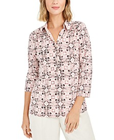 Tile Print Button-Down Shirt, Created For Macy's
