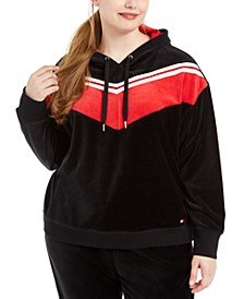 Plus Size Chevron Velour Hooded Sweatshirt