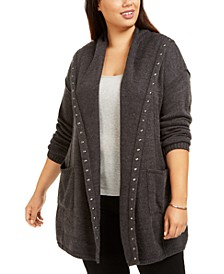 Plus Size Studded Open-Front Cardigan, Created For Macy's