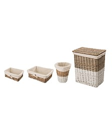 Glitzhome Willow Lidded Baskets with Lining, Set of 4