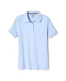 Big Girls Short Sleeve Interlock Polo with Picot Collar