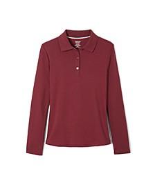 Big Girls Long Sleeve Interlock Knit Polo with Picot Collar