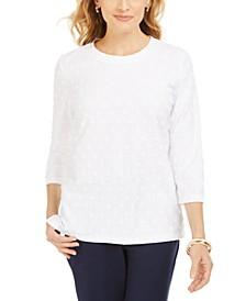 Petite Textured Dot Sweatshirt, Created For Macy's