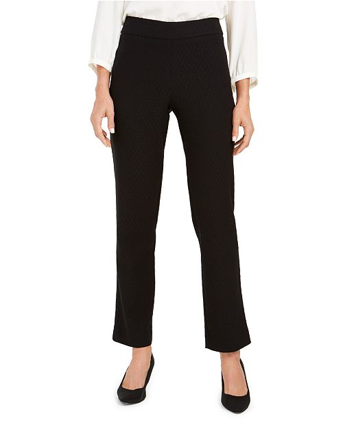 JM Collection Jacquard Straight-Leg Pull-On Pants, Created For Macy's