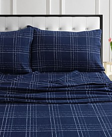 Oxford Plaid Flannel Printed Extra Deep Pocket Queen Sheet Set