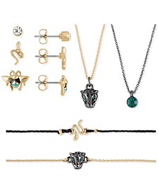 Two-Tone Stud Earrings, Pendant Necklace & Bracelet 7-Pc. Animal Gift Calendar Set