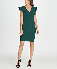 V-Neck Ruffle Cap Sleeve Sheath Dress