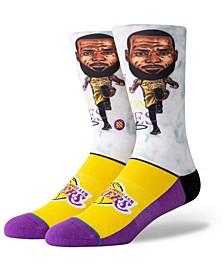 Big Boys Lebron James Los Angeles Lakers Big Head Crew Socks