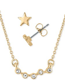 "Gold-Tone Star Stud Earrings & Crystal Pendant Necklace Gift Set, 16"" + 2"" extender"