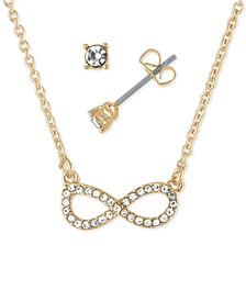 "Gold-Tone Crystal Stud Earrings & Infinity Pendant Necklace Gift Set, 16"" + 2"" extender"