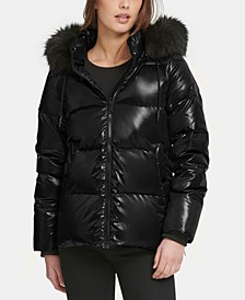 High-Shine Faux-Fur-Trim Puffer Coat