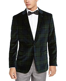 Men's Modern-Fit Green/Navy Blue Plaid Velvet Sport Coat