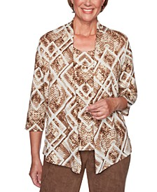 Walnut Grove Printed Layered-Look Top