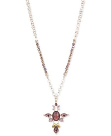 """lonna & lilly Gold-Tone Crystal, Bead & Stone 36"""" Multi-Link Pendant Necklace"""