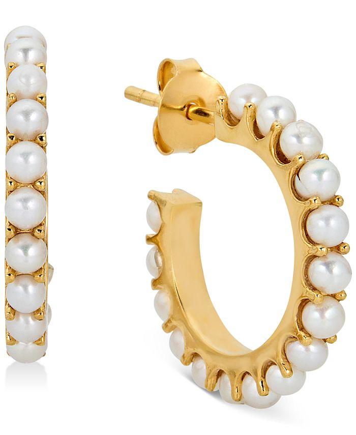 Macy's - Cultured Freshwater Pearl (2-1/2mm) Hoop Earrings in 14k Gold-Plated Sterling Silver