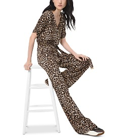 Michael Michael Kors Leopard-Print Jumpsuit, Regular & Petite