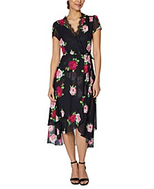 Floral-Print Lace-Trim Wrap Dress