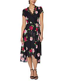 Betsey Johnson Floral-Print Lace-Trim Wrap Dress