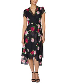 Betsey Johnson Floral-Print Lace-Trim Wrap Dress
