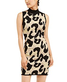Juniors' Glitter Leopard-Print Sweater Dress