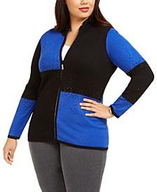 Plus Size Colorblocked Rhinestone Zip Sweater